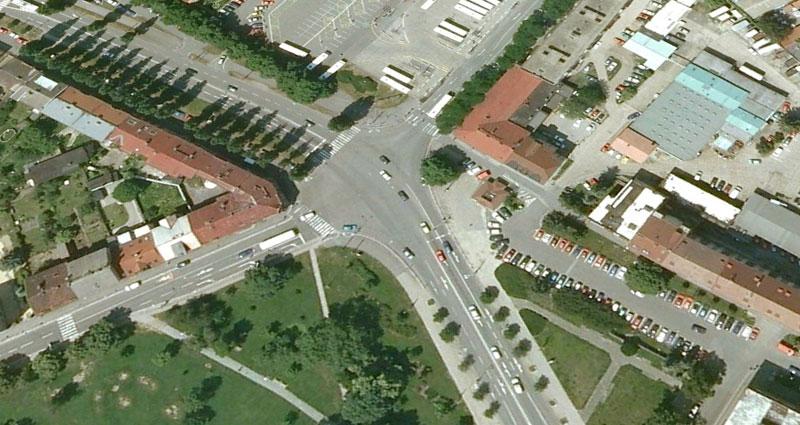 Google Earth Křižovatka Koruna Hradec Králové