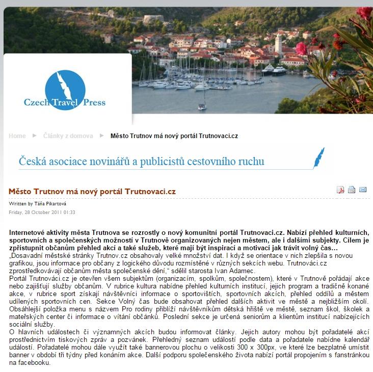 Trutnovaci.cz - tisková zpráva Adamec Ivan
