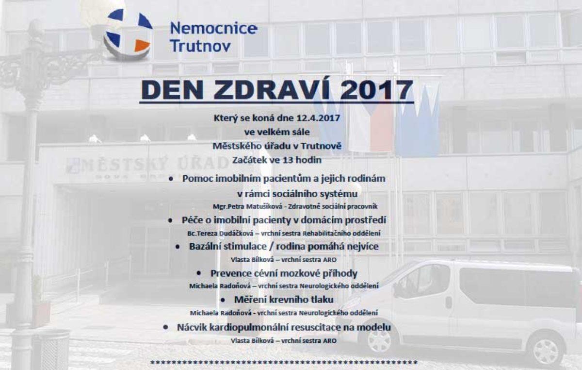 Přijďte na Den zdraví 2017 do velkého sálu MěÚ v Trutnově
