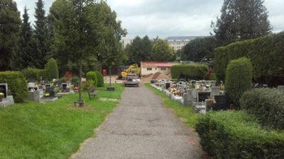 Oprava dešťové kanalizace na hřbitově