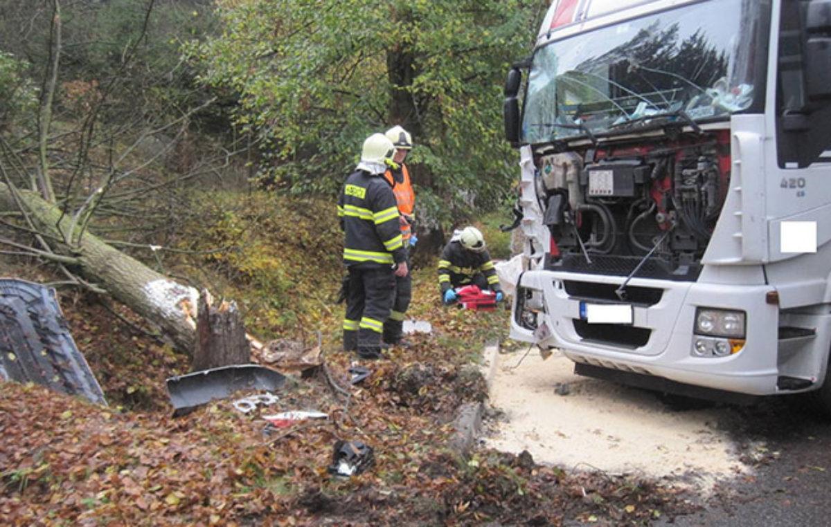 Kamion narazil do stromu v Batňovicích