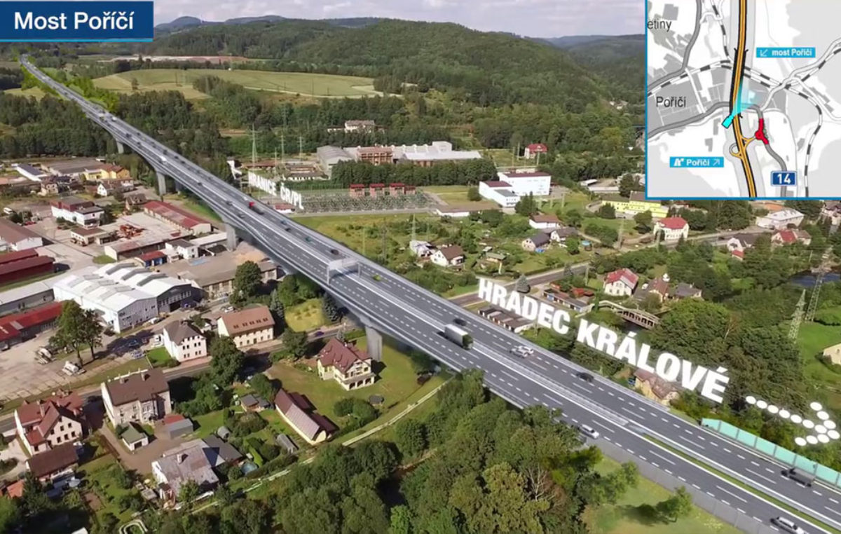 Čerstvá vizualizace části dálnice Trutnov – Polsko. Jak se vám líbí most v Poříčí?